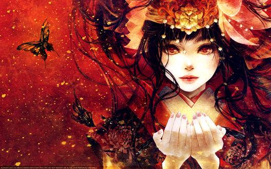 Обои Аниме девушка в красном кимоно приподняв ладоши, смотрит пристальным взглядом в окружении огня и бабочек