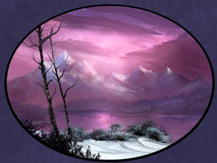 Обои В магическом эллиптическом окне открывается мир зимы под лиловым небом, заснеженные горы, лиловые воды реки, снег, кусты и деревья на переднем плане, Зимняя благодать, by vest