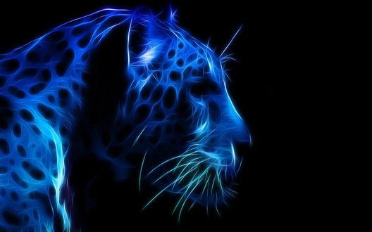 Обои Морда синего леопарда в профиль на темном фоне, рендеринг