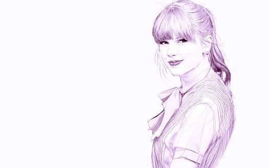 Обои Taylor Swift / Тэйлор Свифт, известная певица, рисунок карандашом