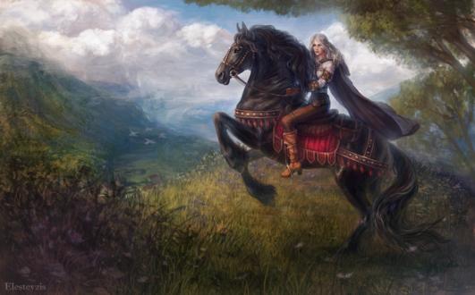 Обои Девушка на лошади, by Elesteyzis