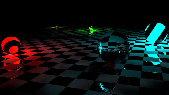 Обои Прозрачные шарики с цветной подсветкой катаются в темноте по клетчатой поверхности
