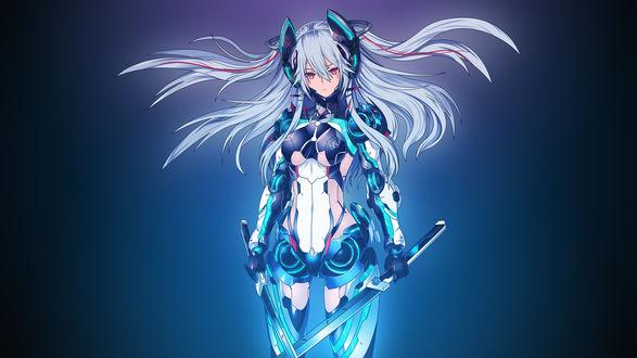 Обои Анимешная девушка с длинными серо-голубыми волосами и ярко-розовыми глазами, в неоновых доспехах, с двумя мечами в руках / Mecha Girl by AssassinWarrior