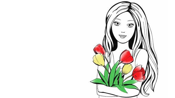 Обои Девушка с букетом разноцветных тюльпанов на белом фоне