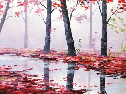 Обои Дождливый осенний день, залитая дождем аллея в парке, облетевшие красные листья