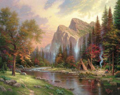 Обои Деревья в осенней раскраске, река, на берегу которой расположились индейские вигвамы, величественные горы на фоне закатного неба, The Mountains Declare His Glory / Горы во всем своем величии, художник Thomas Kinkade / Томас Кинкейд