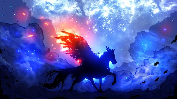Обои Пегас на фоне ночного неба, by ryky