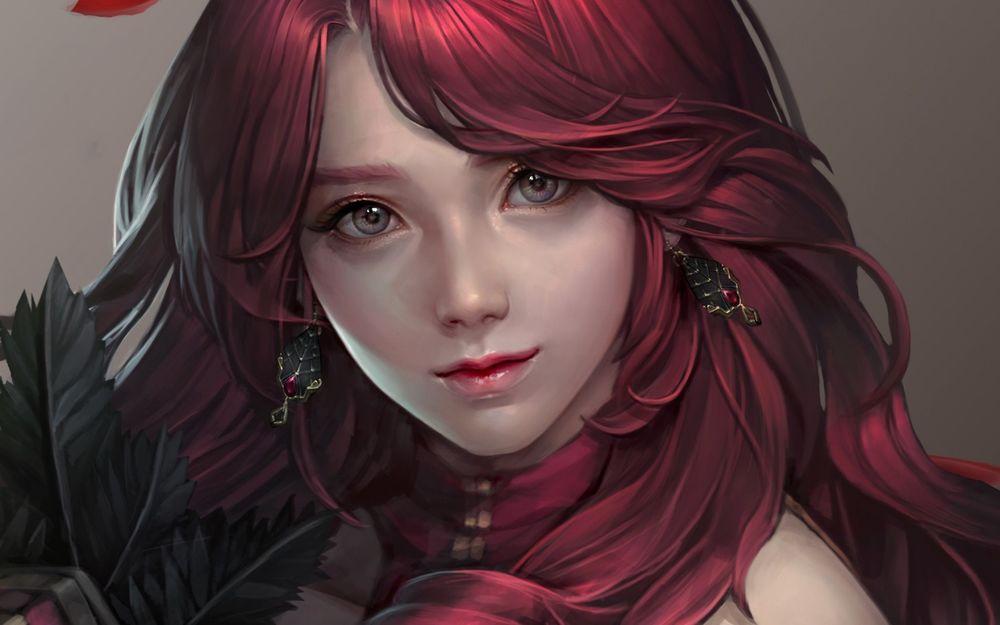 Красивая девушка с красными волосами