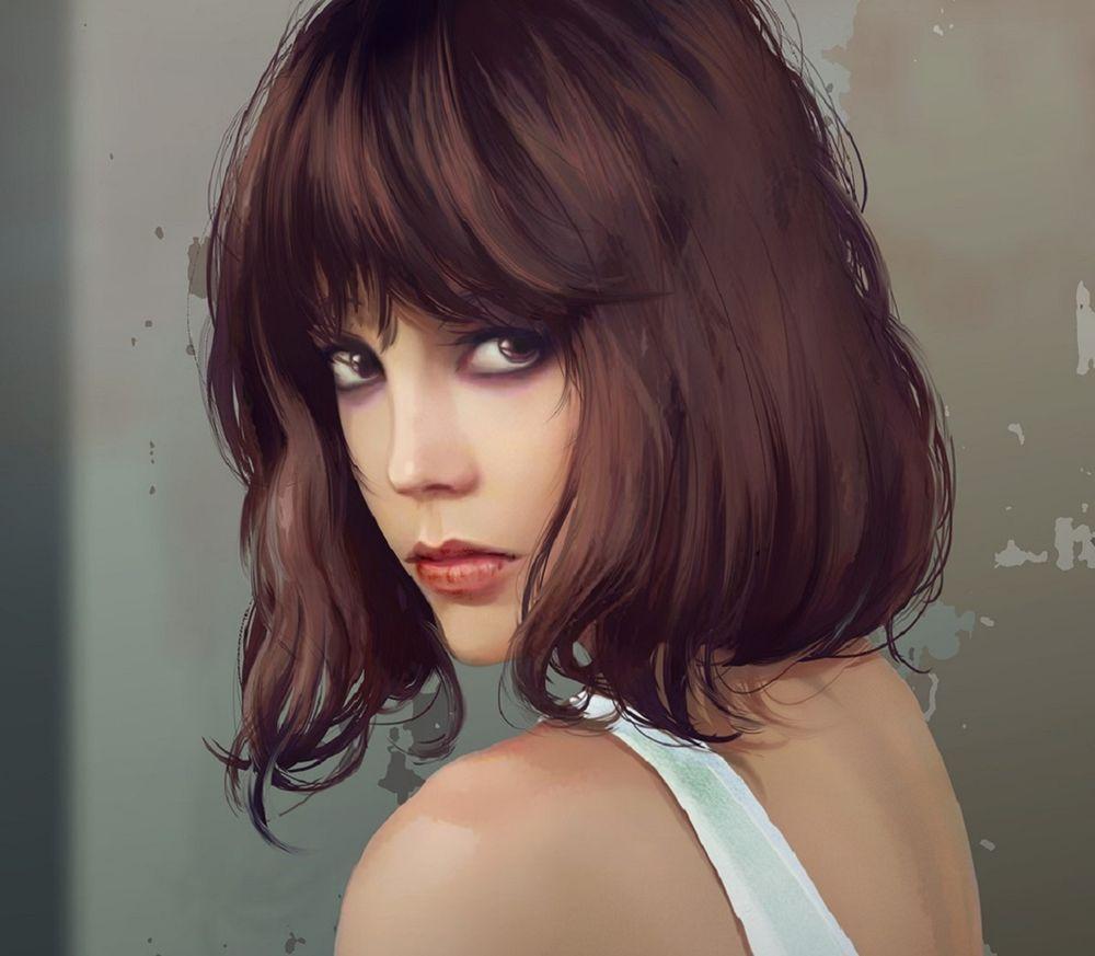 Картинки девушки с темными волосами каре