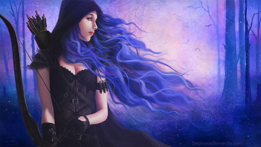 Обои для рабочего стола Девушка с синими волосами, с луком в руках стоит в лесу, by Slshimerdla