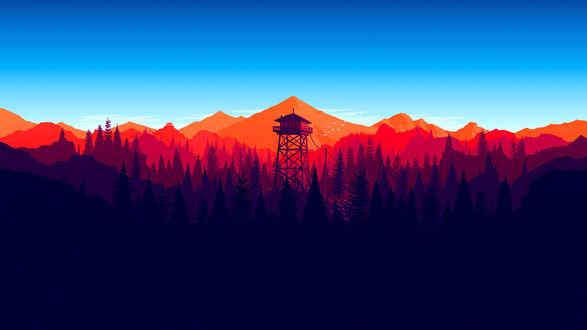 Обои Пейзаж из игры Наблюдательная вышка / Firewatch by Aaron Olive
