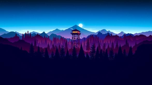 Обои Ночной пейзаж из игры Наблюдательная вышка / Firewatch by Aaron Olive