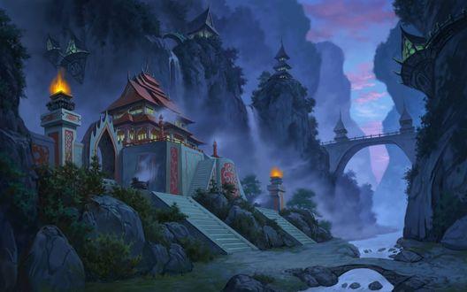 Обои Игра Jade dynasty, вечер, туман, город, здания, река, мост, лестница, на фоне гор и неба