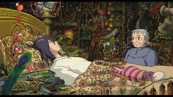 Обои Howl / Хаул лежит в кровати, старушка Sophie Hatter / Софи Хаттер сидит рядом из аниме Howls Moving Castle / Ходячий замок Хаула, art by Hayao Miyazaki