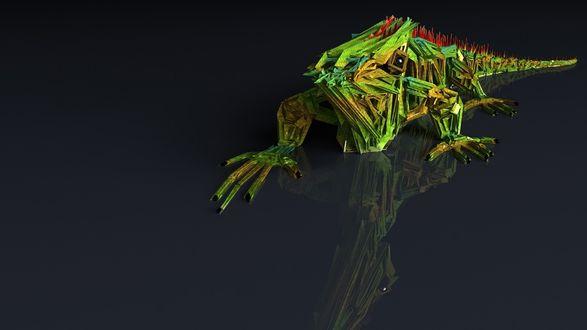 Обои Механическая ящерица на черной блестящей поверхности