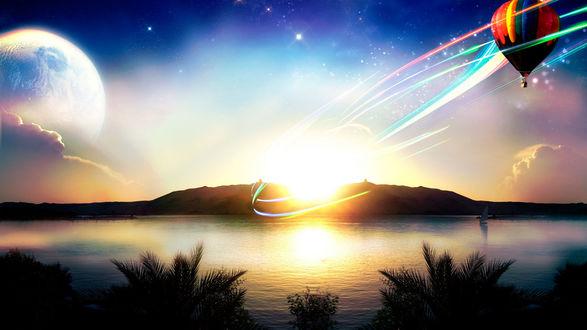 Обои Воздушный шар над поверхностью воды, с цветными кольцами исходящими от заходящего за горы солнца, с виднеющейся на небе восходящей огромной Луной