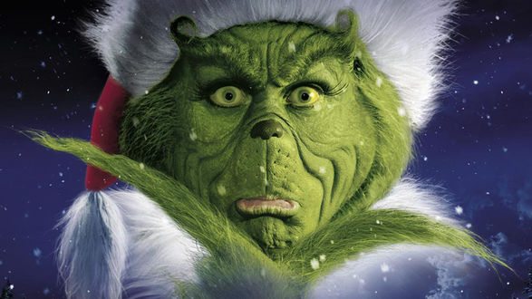 Обои Зеленое существо Гринч в костюме Санта Клауса, персонаж фильма Гринч — похититель Рождества / How the Grinch Stole Christmas