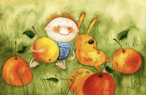 Обои Улыбающийся малыш и желтый заяц спят в зеленой траве среди огромных спелых яблок, by Viktoriya Kirdiy / Виктория Кирдий