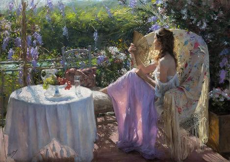 Обои Девушка сидит на террасе в летний зной, обмахивается веером, by Vicente Romero Redondo