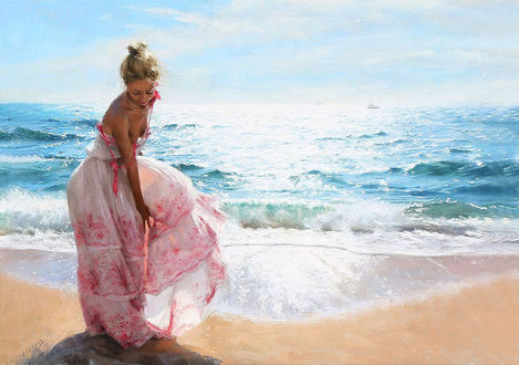 Обои Девушка на берегу моря, by Vicente Romero Redondo