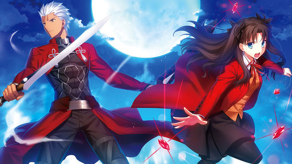 Обои Рин Тосака / Rin Toosaka и Арчер / Archer из аниме Судьба / Ночь схватки / Fate / stay night на фоне ночного неба и полной луны