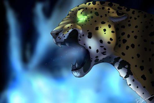 Обои Леопард на размытой поверхности, с разинутой пастью и светящимся зеленым глазом