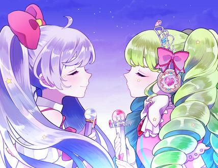 Обои Manaka Lala / Манака Лала и Faruru Bokerdole / Фаруру Бокердоле из аниме PriPara / ПриПара, art by Pixiv Id 4758050