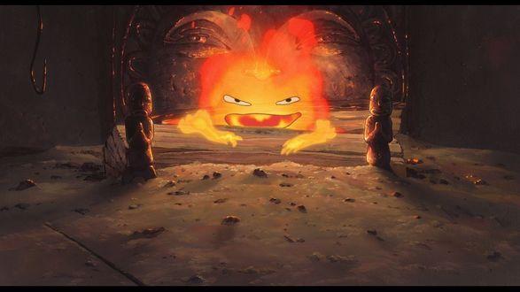 Обои Calcifer сидит на дровах в очаге из аниме Howls Moving Castle / Ходячий замок Хаула, art by Hayao Miyazaki