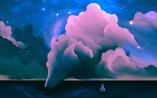 Обои Облако в виде огромного волка, наклонилось и пьет воду с поверхности моря с одиноким парусником