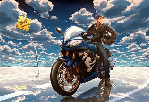 Обои Аомине Дайки / Aomine Daiki на мотоцикле на фоне облачного неба из аниме Бескетбол Куроко / Kuroko no basket, art by Zawar (MVP of the day)