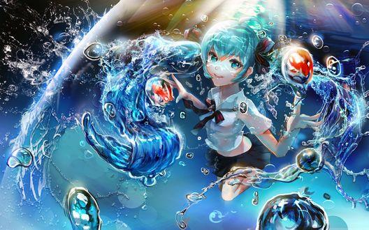 Обои Vocaloid Hatsune Miki / Вокалоид Хатсуне Мику, под водой
