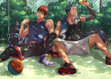 Обои Аомине Дайки / Aomine Daiki и Kagami Taiga / Кагами Тайга из аниме Бескетбол Куроко / Kuroko no basket, art by Zawar