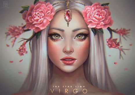 Обои Девушка с розовыми цветами на голове, Virgo - The Star Signs / Дева - Звездные знаки, by serafleur
