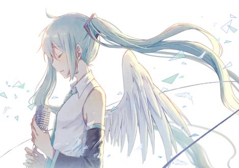 Обои Vocaloid Hatsune Miku / Вокалоид Хатсунэ Мику c ангельскими крыльями за спиной стоит у микрофона, by 雨陌