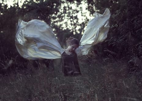 Обои Девушка в образе ангела стоит в траве