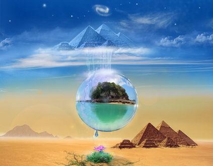 Обои Водяной пузырь с с заключенными в нем морем и гористым островом, висит над пирамидами и пустыней, капля падает на цветок, в небе пирамиды небесные, фантасмагория, рендеринг