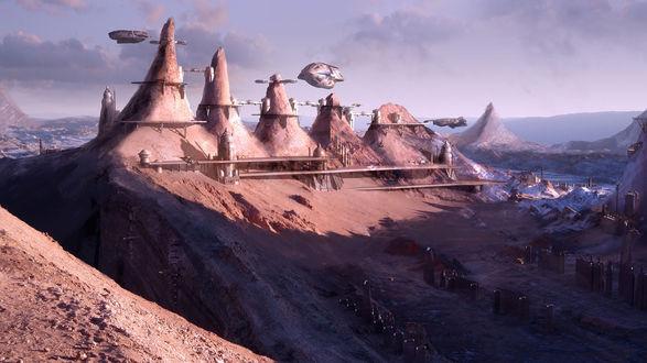 Обои Фантастический город и пейзаж с висящими в небе кораблями, мир романов известного писателя Френка Херберта / Frank Herbert, цикл Дюна / Duna