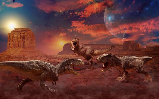 Обои Драка динозавров, выветрившаяся гора, планета в небе, красноватые облака, рендеринг