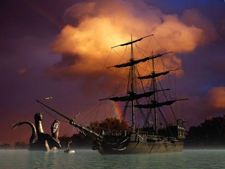 Обои Корабль на якоре у берегов острова, Гидра и полубог на плотике, под темным небом с облаком, закрывшим солнце и висящей вдали радугой