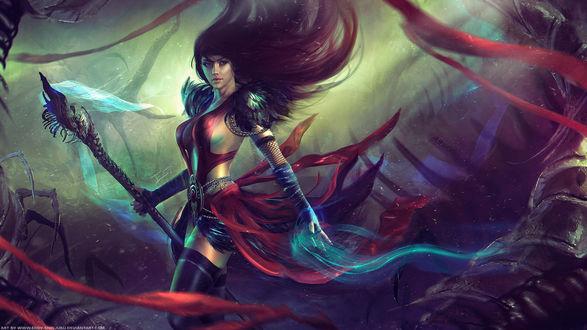 Обои Девушка- воин с развевающимися волосами, арт по игре Guild Wars 2 Necromancer, by Eddy-Shinjuku