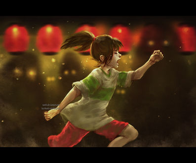 Обои Тихиро Огино / Chihiro Ogino из аниме Унесенные призраками / Sen to Chihiro no kamikakushi, by NanFe