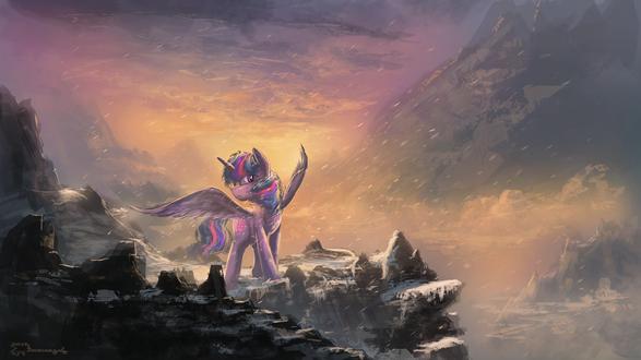 Обои Сумеречная Искорка / Twilight Sparkle из мультсериала Мой маленький пони: Дружба – это чудо / My Little Pony: Friendship is Magic / MLP:FiM, by Shamanguli