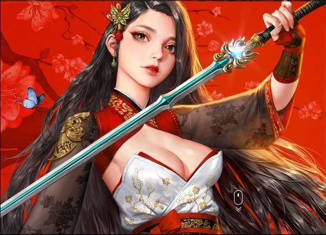 Обои Девушка с мечом в руке, by jungmin jin / dospi