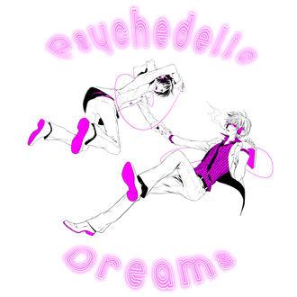 Обои Orihara Izaya / Орихара Изая / Psyche / Психи и Heiwajima Shizuo / Хейваджима Шизуо / Delic / Делик из аниме Durarara / DRRR / Дюрарара / Всадник без головы, art by B Fujiyuki (Psychedelic Dreams)