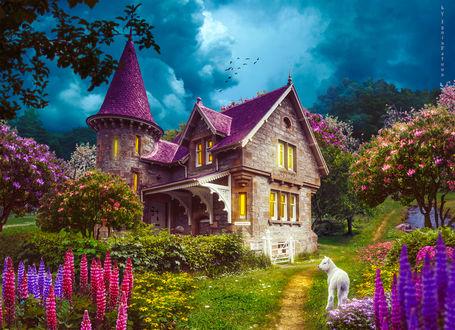 Обои Ягненок стоит в саду милого домика с розовой крышей, by IgnisFatuusII