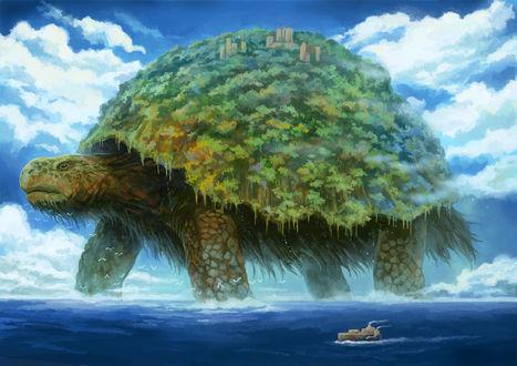 Обои Огромная фантастическая черепаха, by Kemi Neko