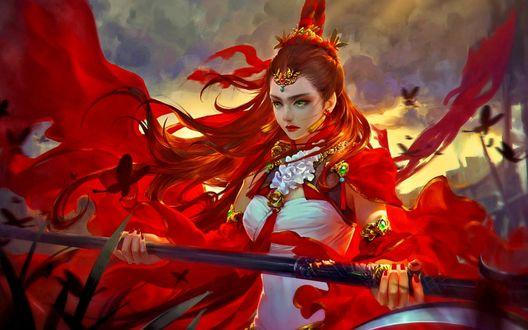 Обои Девушка с рыжими длинными волосами, со слезами на глазаз, с тиарой на голове с посохом в руке в красной одежде