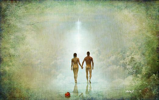 Обои Бросив злополучное яблоко, Адам и Ева, изгнанные из Рая, уходят в туманную неизвестность земной жизни, by Hedimir