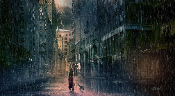 Обои Девушка с собакой идут под дождем по улицам ночного города, by Hedimir