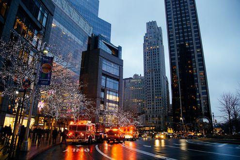 Обои Вечерняя улица с небоскребами, NY, США / usa